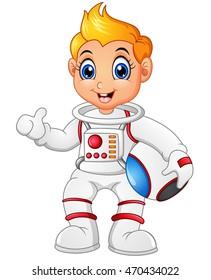 Astronaut cartoon giving thumb up