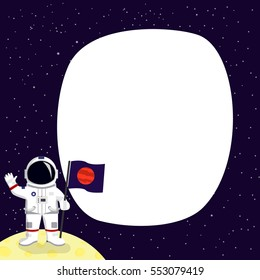 Astronaut cartoon vector illustration on background with place for text