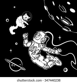 Astronaut with a cat#2, white on black