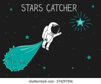 astronaut catch stars to the bag.Cartoon childish vector illustration.