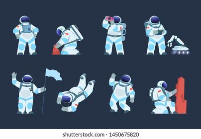 Astronaut character. Cartoon spaceman design, cosmonaut in motion, taking selfie flying and walking with helmet and flag. Vector flat explorer in spacesuit set