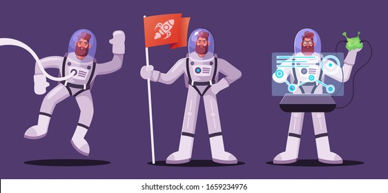Astronaut character exploring outer space. Futuristic cosmonaut in spacesuit walking and flying. Cartoon vector illustration. Stars and planets in background