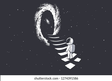an astronaut climbs the stairs into wormhole - portal to another dimension.Science fiction.Space theme. vector illustration