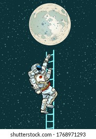 Astronaut climbs the stairs to the moon. Pop art retro vector illustration kitsch vintage 50s 60s style