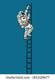 Astronaut climbs the stairs. Pop art retro vector illustration kitsch vintage 50s 60s style