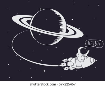 astronaut come back after mission to Saturn.Hand drawn work.Childish vector illustration
