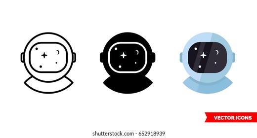 Astronaut or cosmonaut icon of 3 types: color, black and white, outline. Isolated vector sign symbol.