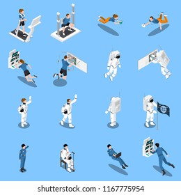 Astronaut cosmonaut taikonaut isometric icons set of sixteen isolated icons of testers and real candidates vector illustration