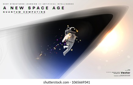 Astronaut. Cosmos futuristic abstract background, quantum space exploration and technology vector poster. Minimalistic shapes, stars and lights for science placards, banners and presentations.