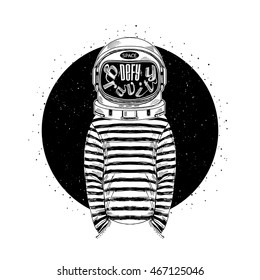 astronaut, defy the gravity, concept illustration, t-shirt print