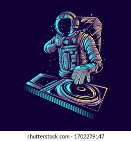 astronaut disc jockey vector illustration design