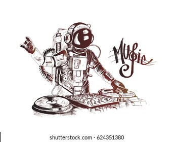 Astronaut DJ with console, Hand Drawn Sketch Vector illustration.