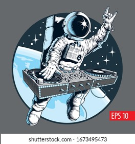 Astronaut dj with turntable in the space. Universe disco party comic style vector illustration.