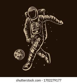 astronaut dribbling ball soccer vector football illustration