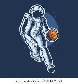 astronaut dribbling basket ball vector illustration design