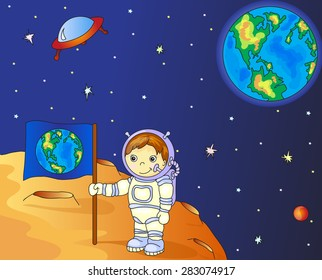 Astronaut with Earth flag on the moon surface in space colorful vector illustration