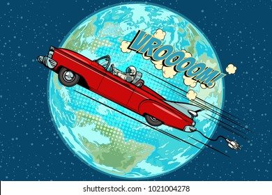 Astronaut in an electric car over the planet Earth. Pop art retro vector illustration comic cartoon hand drawn vector