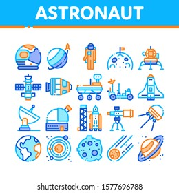 Astronaut Equipment Collection Icons Set Vector Thin Line. Astronaut Spacesuit And Helmet, Shuttle And Satellite, Rocket And Asteroid Concept Linear Pictograms. Color Contour Illustrations