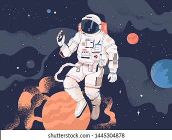 Astronaut exploring outer space. Cosmonaut in spacesuit performing extravehicular activity or spacewalk against stars and planets in background. Human spaceflight. Modern colorful vector illustration.