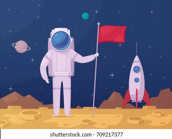 Astronaut with flag after moon landing on lunar surface with spacecraft on background cartoon poster vector illustration