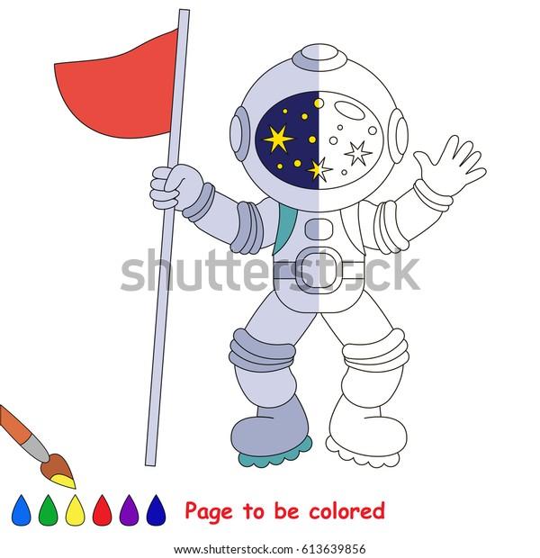 Astronaut Flag Coloring Book Educate Preschool Stock ...