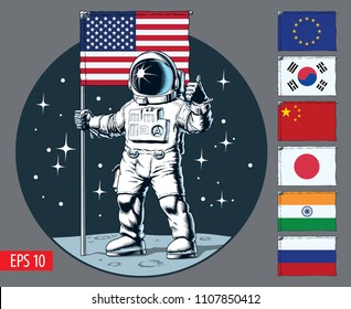 Astronaut with flag stands on moon. Set of flags. Vector illustration.