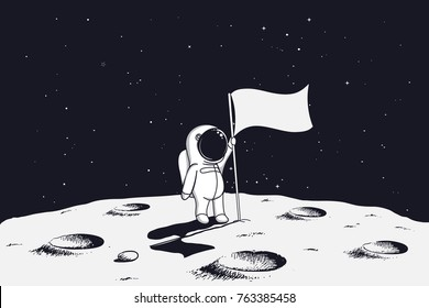 Astronaut with flag stands on moon. Hand drawn vector illustration