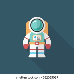 Astronaut flat  icon with long shadow,eps10,