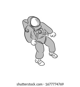 Astronaut Flat Icon On White Background