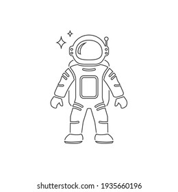 Astronaut Flat Line Icon Vector illustration