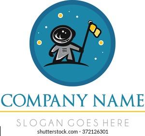 Astronaut flat logo moon stars flag vector | Circular astronaut logo | Simple planet universe vector logo