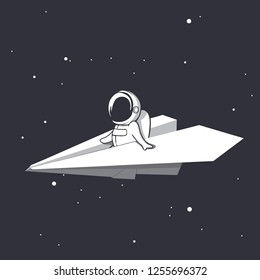an astronaut flies on a paper airplane through universe.Space design.Vector illustration