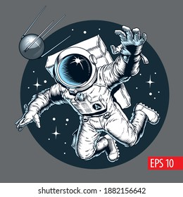 Astronaut floating and catches a satellite in outer space. Comic style vector illustration.
