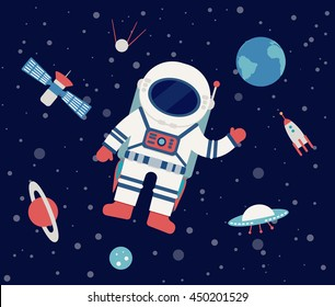 Astronaut floating in outer space, set of planet, Earth, orbits, rocket, satellite, stars, ufo, meteorite. Cosmos. Vector illustration. Cartoon icons.