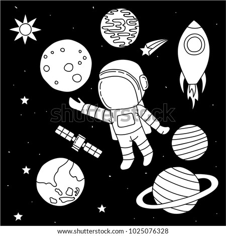 Astronaut Floating Outer Space Set Planet Stock Vector Royalty Free