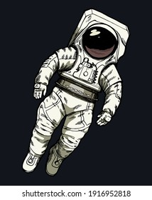 Astronaut floating in the outer space wearing new american space suit. Isolated space illustration.