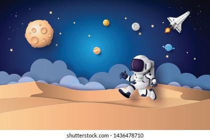 成層圏に浮かぶ宇宙飛行士。紙工芸。