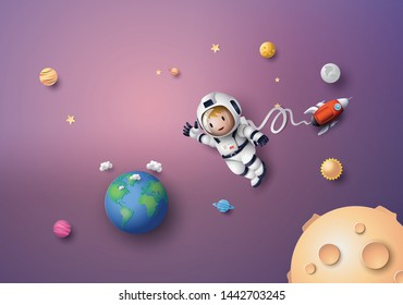 Astronaut floating in the stratosphere. Paper art and craft style.