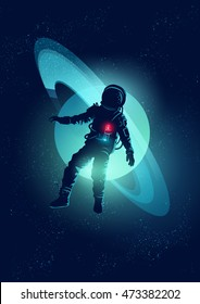 An astronaut floating through Space. Vector illustration