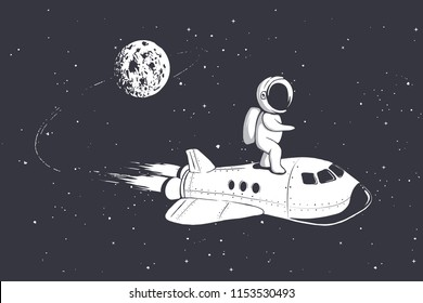 Astronaut fly on space shuttle from the moon.Vector illustration