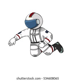 Astronaut fly white background isolated. Spaceman hand drawn color illustration.