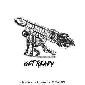 Astronaut flying on the rocket, Hand Drawn Sketch Vector illustration.