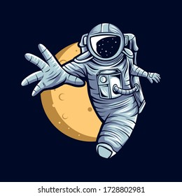 astronaut flying on space with moon background vector illustration design