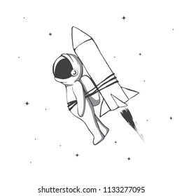astronaut flying to space with rocket tied for him.Cosmic character.Black and white vector illustration