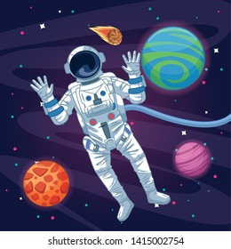 Astronaut flying in the space with stars and planets vector illustration graphic design