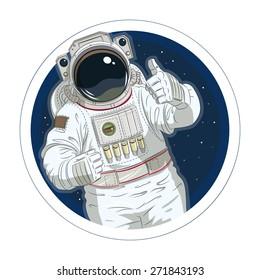 Astronaut gesture okay. Eps10 vector illustration. Isolated on white background