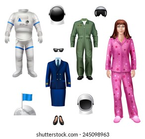 Astronaut girl character pack with explorer costume helmet and flag isolated icons vector illustration