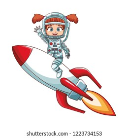 Astronaut girl on spaceship