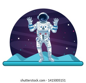 Astronaut greeting on the moon scenery vector illustration graphic design