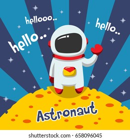 a astronaut greeting on the planet mars. vector cartoon illustration